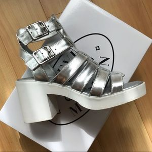 Steve Madden Silver Metallic Retro Sandals